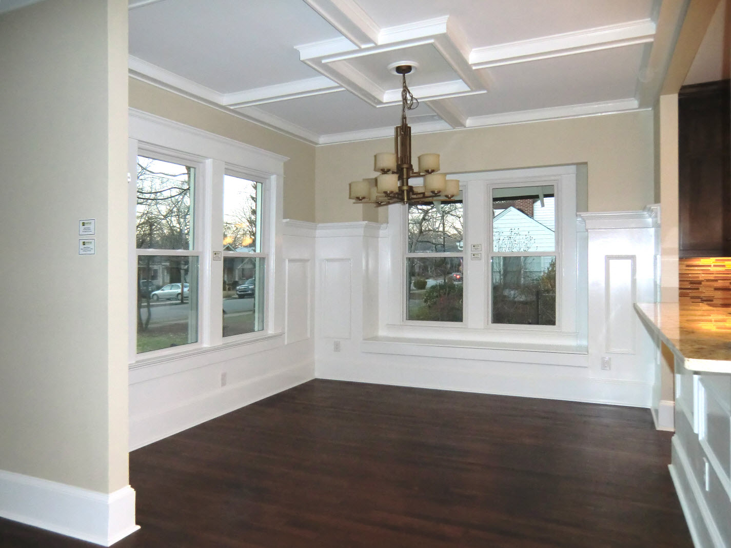 Genial Dining Room With Coffered Ceiling.