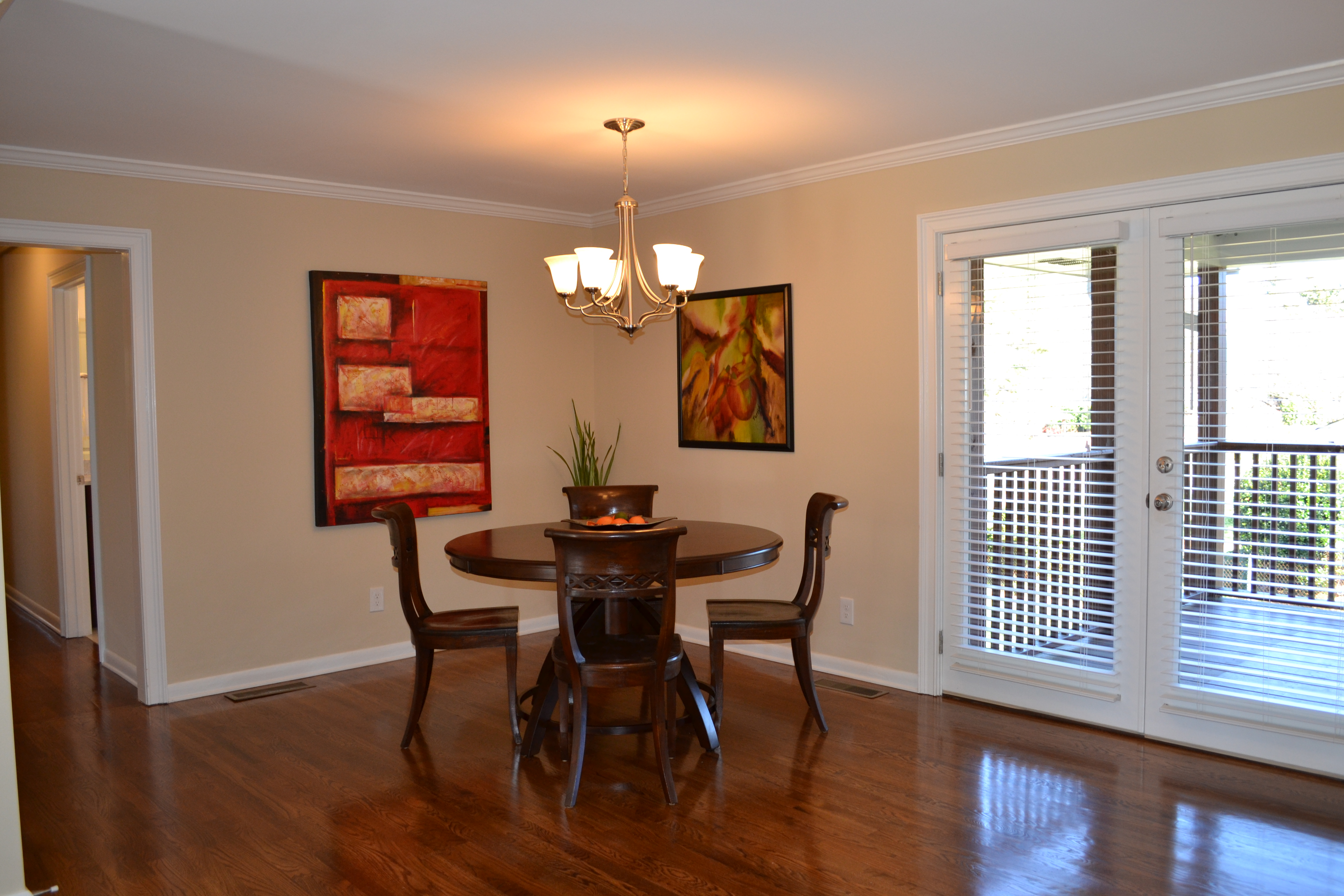 Dining room with new gleaming hardwood floors vision Dining room with wood floors