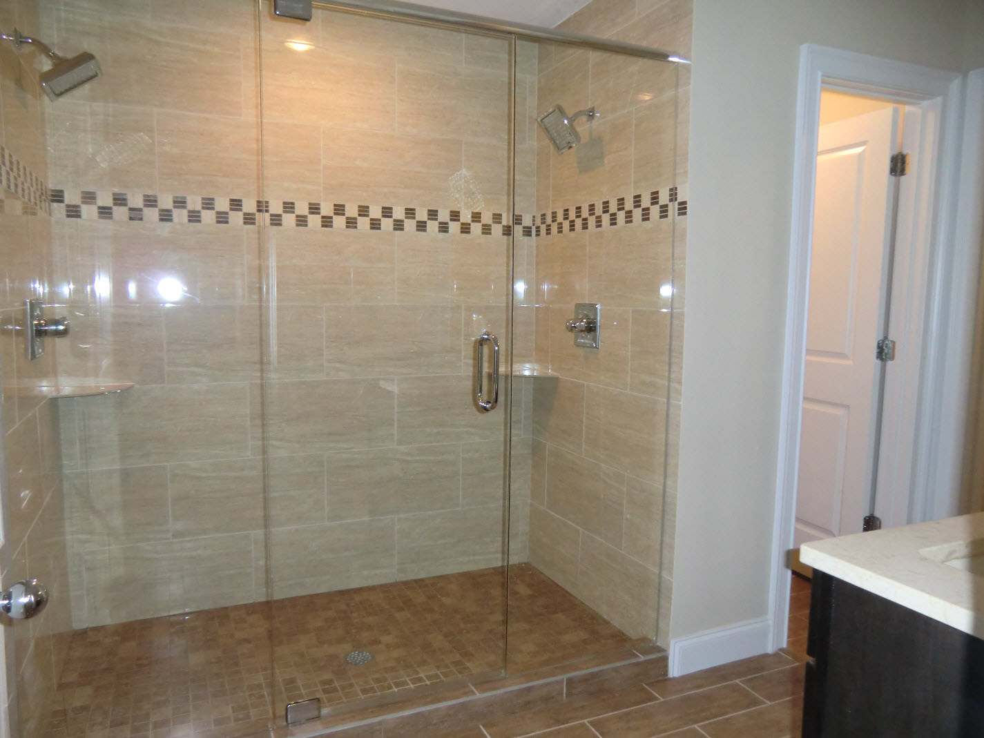 Bathroom Remodel Double Shower : Master bath with double headed quot party shower all