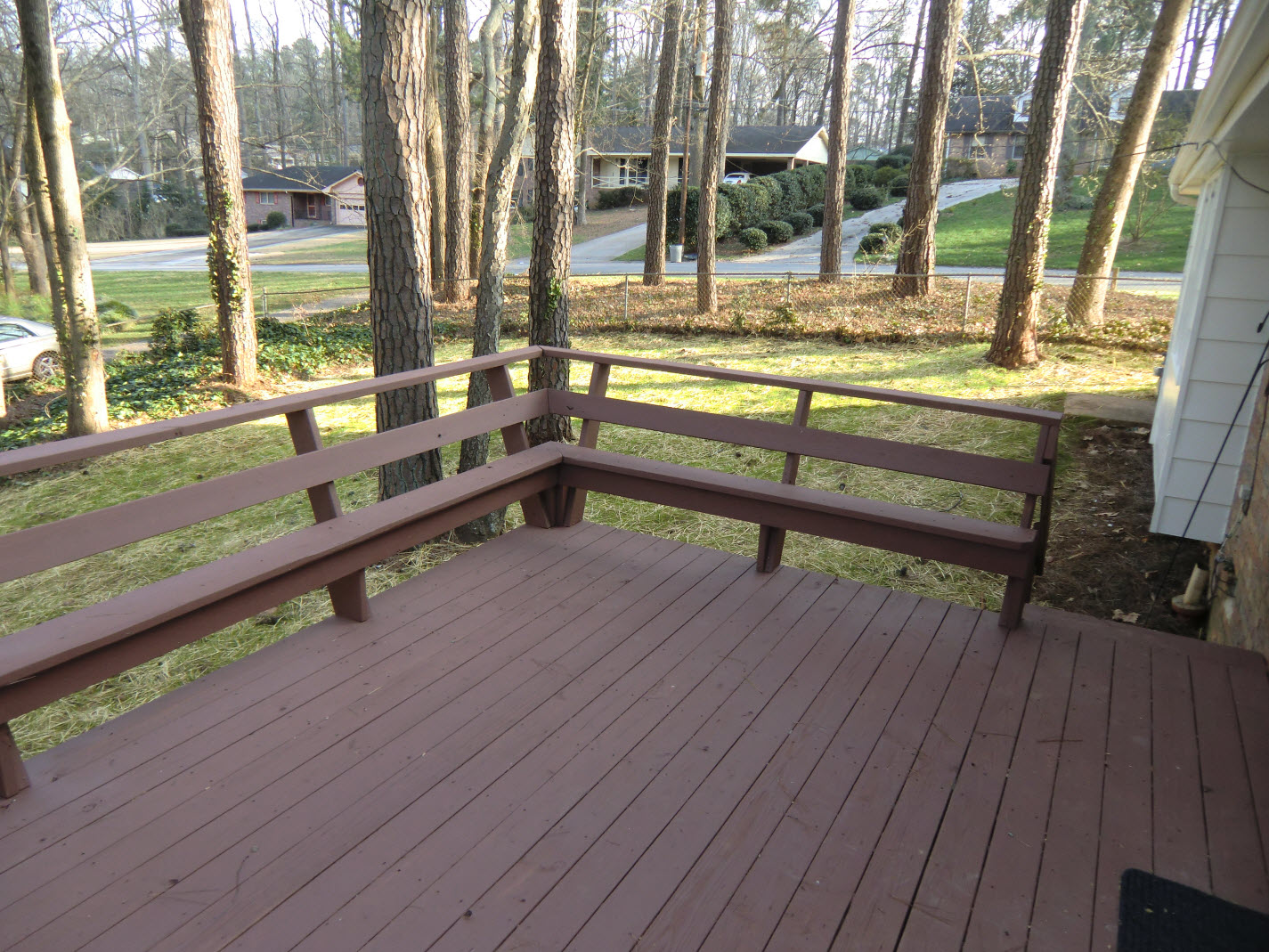 new rear deck overlooking large fenced backyard vision