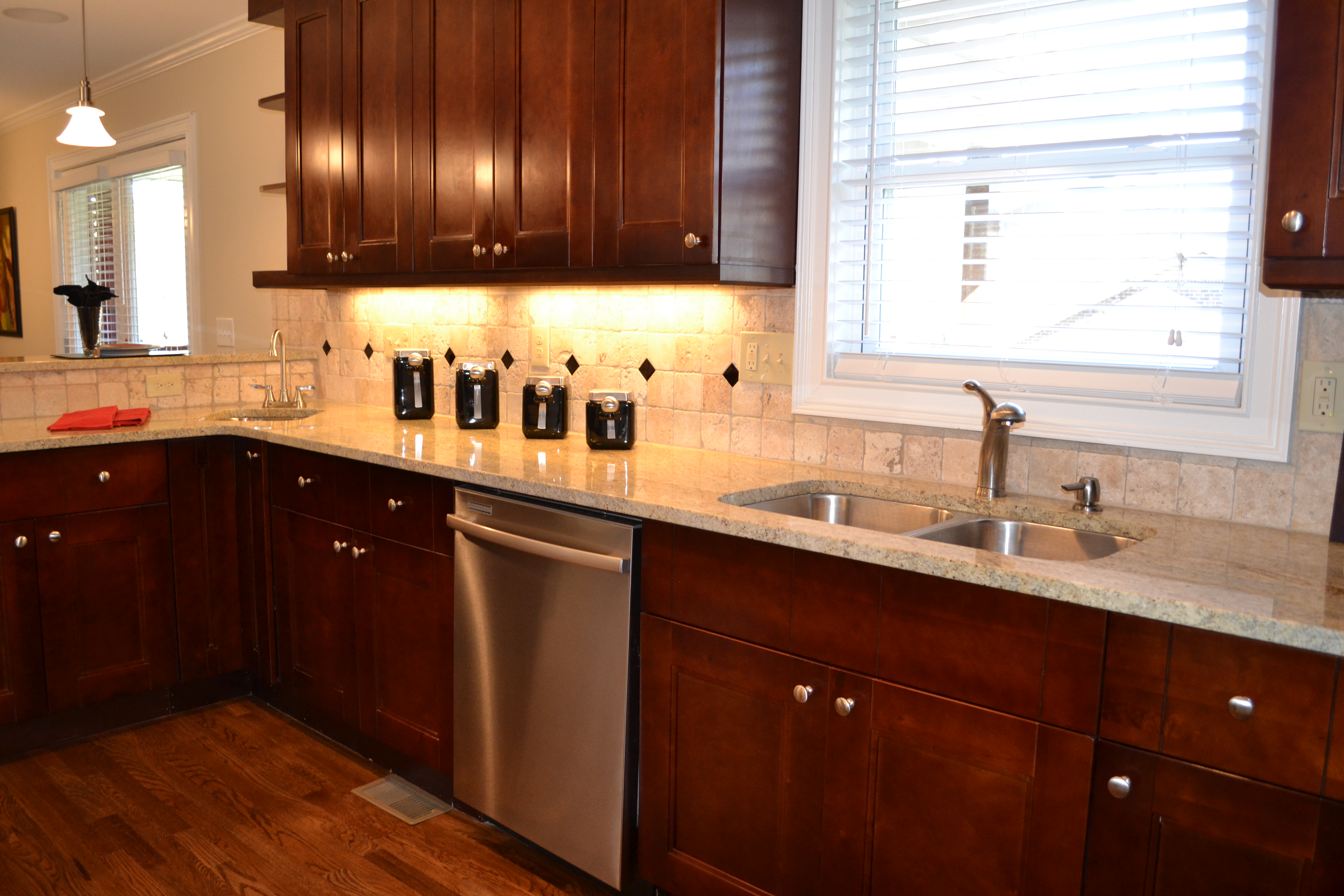 7 all new cherry stained cabinets kitchen pinterest for Staining kitchen cabinets