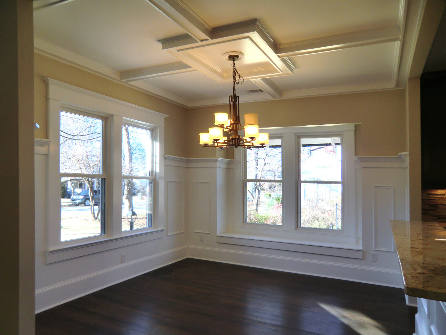 Dining Room with coffered ceiling. - Vision Pointe Homes