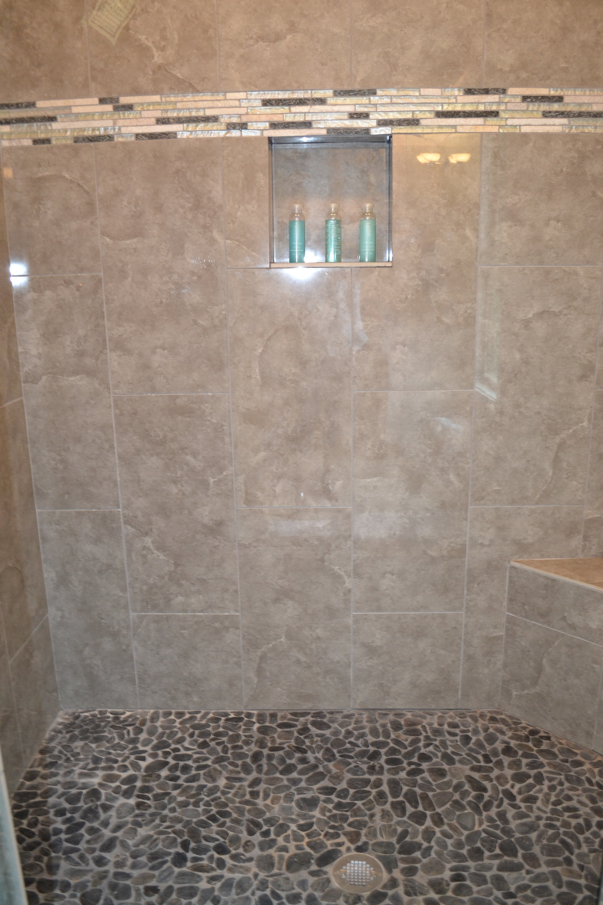 Master Bath Shower Floor River Rock Tile